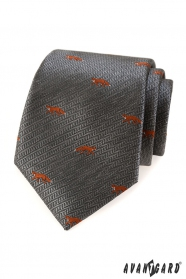 Szary krawat, pomarańczowy lis