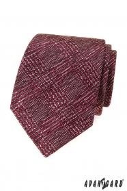 Krawat męski z czerwono-szarym wzorem