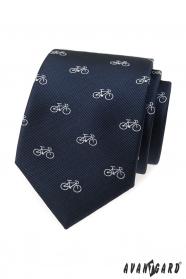 Niebieski krawat z białym rowerem