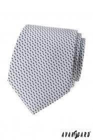 Jasnoszary krawat w niebieski wzór