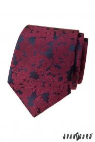 Krawat męski z bordowym motywem