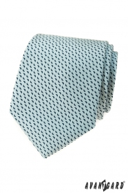 Jasny miętowy krawat w niebieski wzór