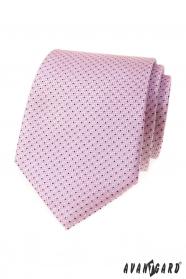 Różowy krawat z małym niebieskim wzorem