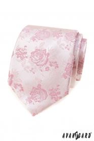 Różowy krawat z różami