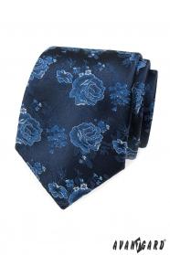 Modrá kravata s růžemi