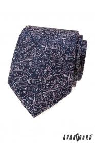 Granatowy krawat z różowym wzorem paisley