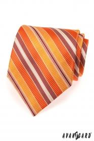 Krawat męski w pomarańczowe paski