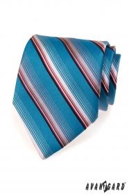 Niebieski krawat w paski w kolorze różowym