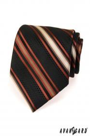 Czarny krawat męski w pomarańczowe paski