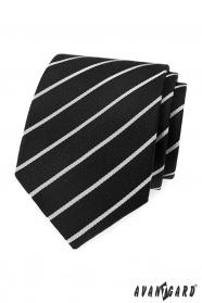 Czarny krawat z białym paskiem