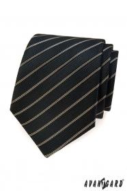 Czarny krawat z brązowym paskiem