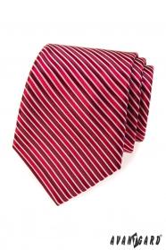 Czerwony krawat w bordowe paski