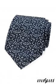 Niebieski krawat męski Motyw Nota
