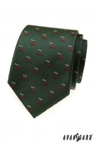 Zielony krawat z motywem jelenia