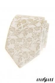 Kremowy krawat w kwiatowy wzór