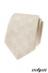 Kremowy krawat we wzór Paisley