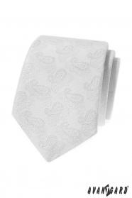 Biały krawat we wzór Paisley