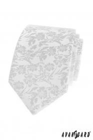 Biały krawat w kwiatowy wzór