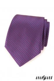 Fioletowy krawat w niebieskie kropki
