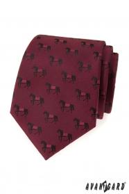 Krawat bordowy, wzór czarnego konia