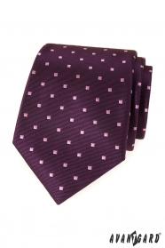 Fioletowy krawat męski z kwadratami