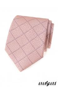 Pudrowy róż krawat w liliowe paski