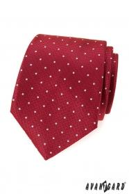 Czerwony krawat we wzory z białą kropką