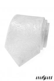 Biały krawat męski ze wzorem