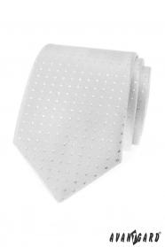 Srebrny krawat w kwadraty