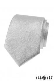 Metaliczny błyszczący srebrny krawat