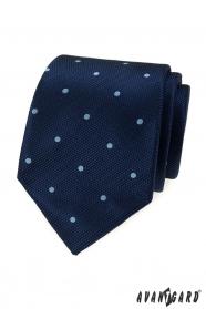 Granatowy krawat w jasne kropki