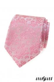 Różowy krawat we wzór Paisley