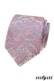 Pudrowy różowo-szary krawat Paisley