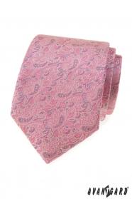 Różowo-szary krawat Paisley
