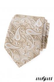 Beżowy krawat we wzór paisley
