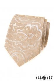 Beżowy krawat z wzorem