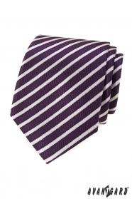 Fioletowy krawat męski w paski