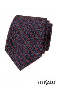 Niebieski krawat w niebiesko-czerwony wzór