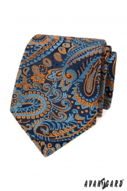 Niebieski krawat w kolorowy wzór paisley