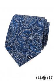 Krawat w niebiesko-biały wzór paisley