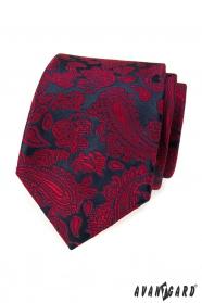 Granatowy krawat w czerwony wzór paisley