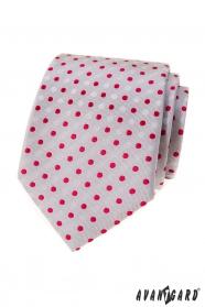 Szary krawat w czerwone kropki
