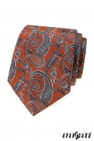 Krawat w kolorze cynamonu z motywami paisley