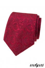 Krawat męski z motywami paisley w kolorze bordowym
