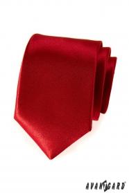 Gładki krawat męski czerwony