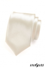 Kremowy krawat męski z wysokim połyskiem