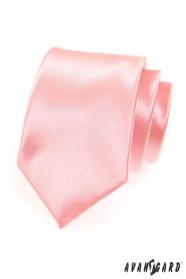 Męski różowy gładki krawat