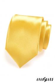 Krawat męski żółty połysk