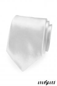 Biały krawat męski satynowy połysk