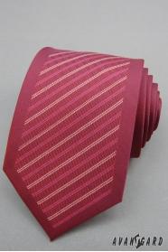 Bordowy krawat męski w paski